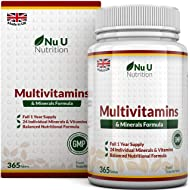 Multivitamins & Minerals Formula | 365 Tablets (Up to 1 Year Supply) | 24 Multivitamins with Iron and Minerals for Men and Women | Multivitamin Tablets Suitable for Vegetarians by Nu U Nutrition