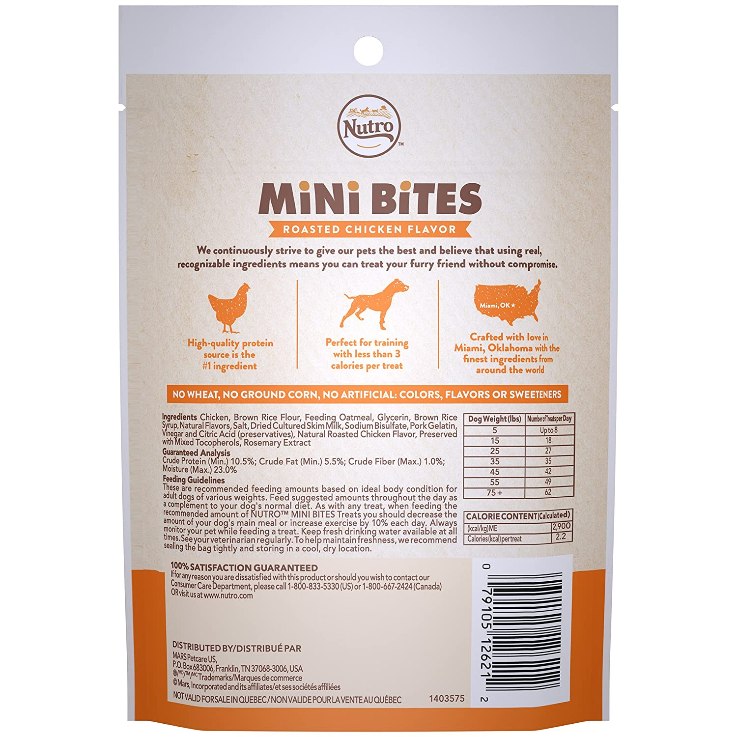 Amazon.com : Nutro Mini Bites Dog Treats Roasted Chicken Flavor, (8) 4.5 Oz. Bags : Pet Supplies