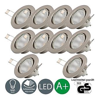 LED Einbaustrahler Schwenkbar Inkl. 10 x 5W Leuchtmittel GU10 IP23 ...
