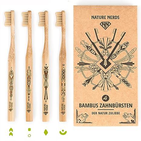 Nature Nerds - Set de cepillo de dientes de bambú (paquete de 4) ♻