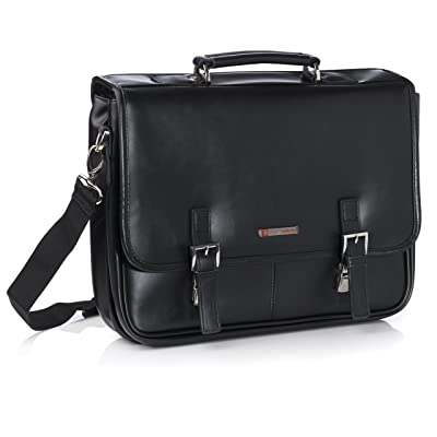 Alpine Swiss Leather Briefcase Dressy Double Buckle Flap-Over