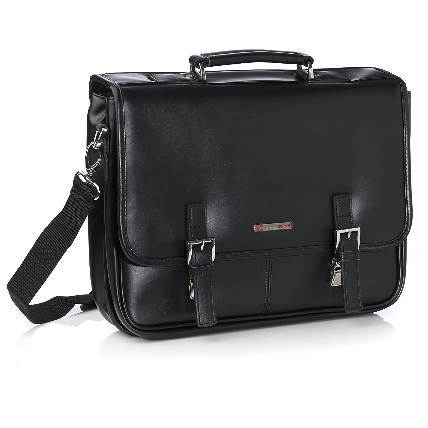 Alpine Swiss Leather Briefcase Dressy Double Buckle Flap-Over By Alpine Swiss