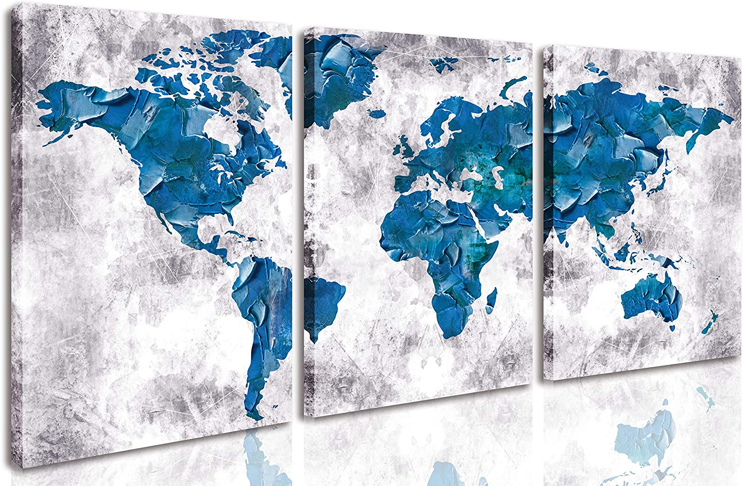 CGXART Abstract World Map Wall-Art - Large Canvas Art Wall Decor - Wall Decorations for Living Room Modern Farmhouse Home Office Wall Decor Easy to Hang Size 12x16 Inches x3 Pieces