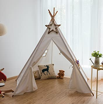 Pericross 6 Foot 5 Sides Cotton Canvas Teepee Play Tent (White) & Amazon.com: Pericross 6 Foot 5 Sides Cotton Canvas Teepee Play ...