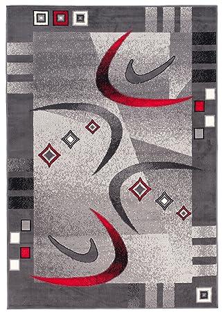 Tapiso Dream Teppich Wohnzimmer Kurzflor Modern Grau Creme Rot Bordüre  Meliert Bumerang Vierecke Schlafzimmer Esszimmer ÖKOTEX 250 x 350 cm