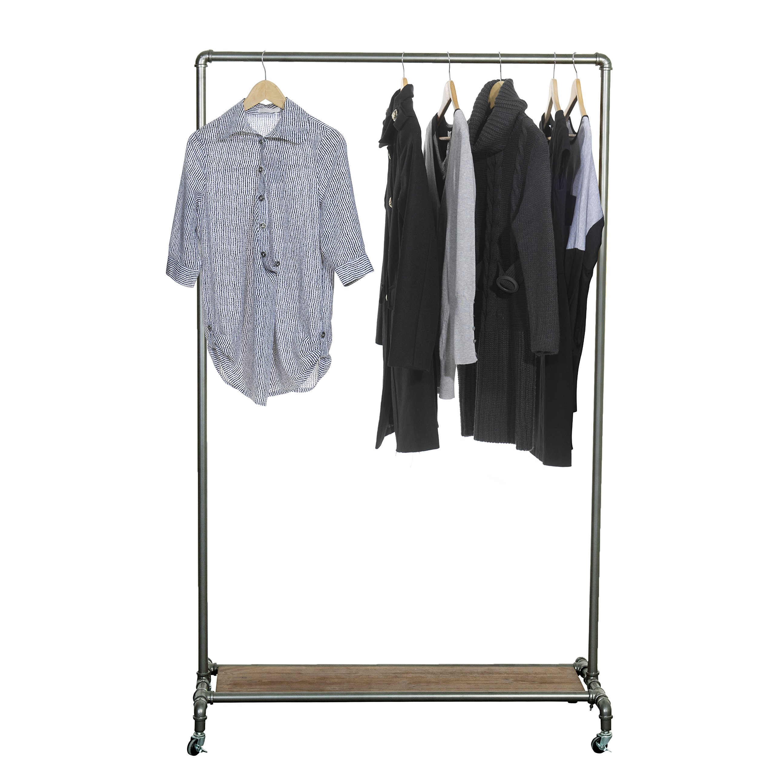 MyGift 65-inch Industrial Pipe Rolling Garment Rack with Wooden Shelf & Lockable Caster Wheels