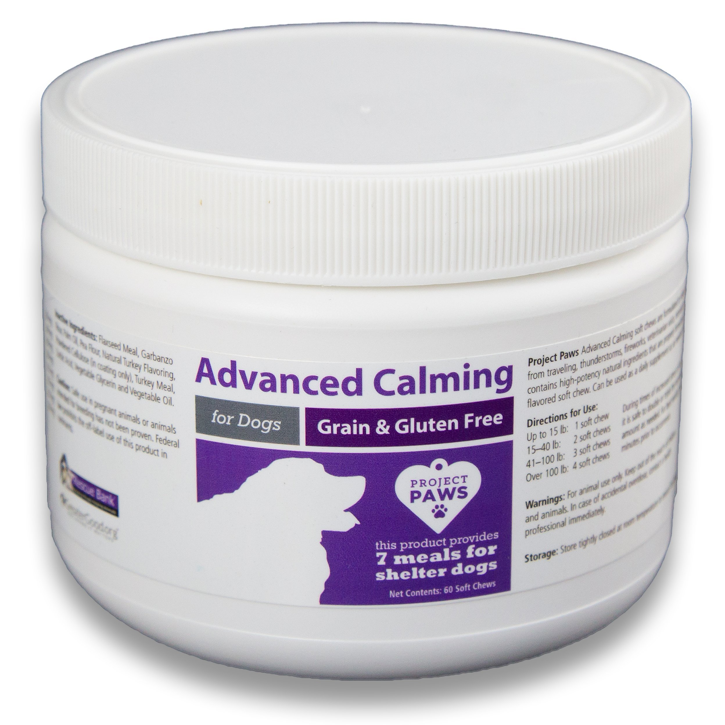 Project Paws Advanced Calming Supplement for Dogs - Calms and Relieves Anxiety, Separation Anxiety, Stress and Aggression - 60 Delicious Soft Chews