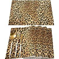 Leopard Print Placemats Set of 4, Cotton Linen Heat Resistant Table Mats Non-Slip Washable Leopard Print Natural…