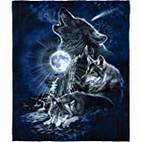 Dawhud Direct Celestial Wolf Super Soft Plush Fleece Throw Blanket