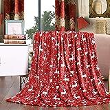 Elegant Comfort Velvet Touch Ultra Plush Christmas Holiday Printed Fleece Throw/Blanket-50 x 60inch, (Reindeer), 50 x 60…