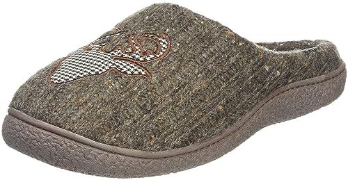 Isotoner Mens Novelty Mule, Zapatillas de Estar por Casa para Hombre, Gris (Taupe), 40/41 EU