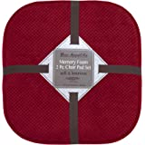Bounce Comfort Bon Appetite Memory Foam 17 x 16 in. Cushioned Chair Pad, Set of 2 Barn Red
