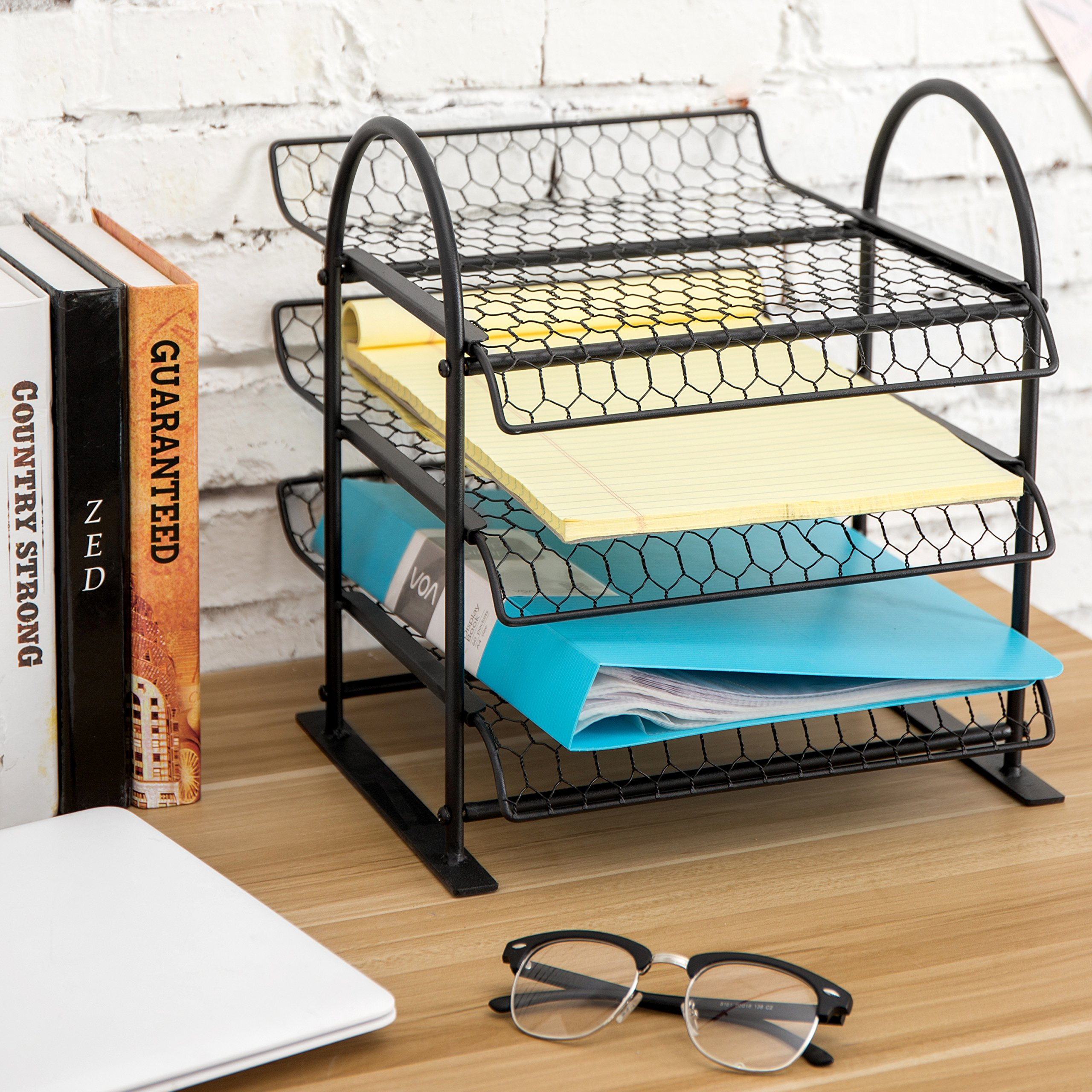 MyGift Metal Chicken Wire Office Document File Organizer with 3-Tier Sliding Trays by MyGift (Image #3)
