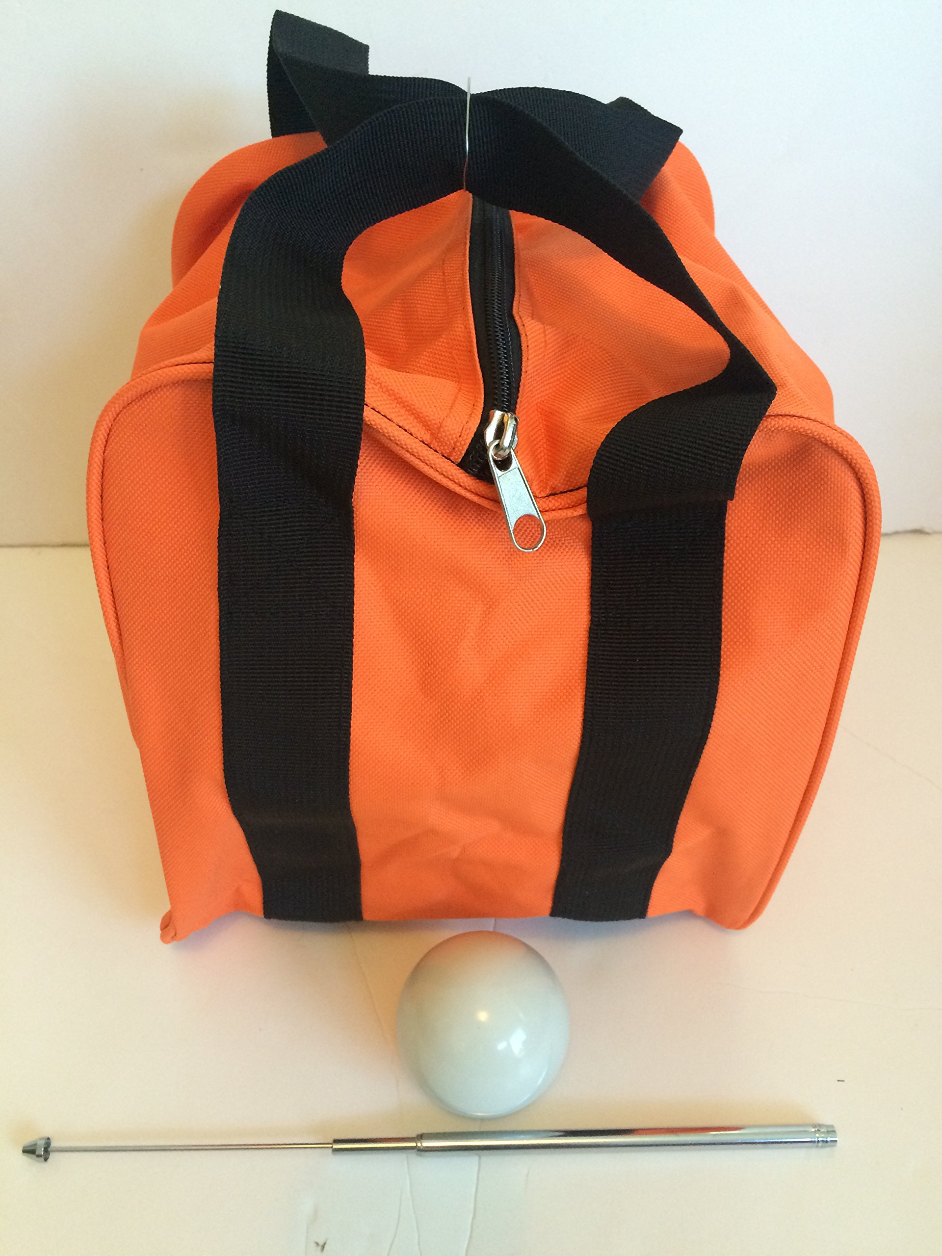 Unique Bocce Accessories Package - Extra Heavy Duty Nylon Bocce Bag (Orange with Black Handles), White pallina, Extendable Measuring Device by BuyBocceBalls