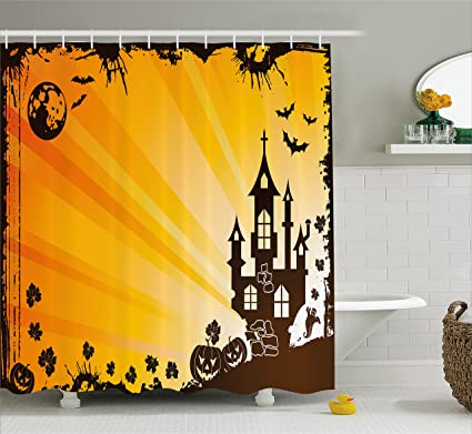 Lunarable Halloween Shower Curtain Grunge Scene With Haunted Gothic Castle Bats Ghost Theme Jack O