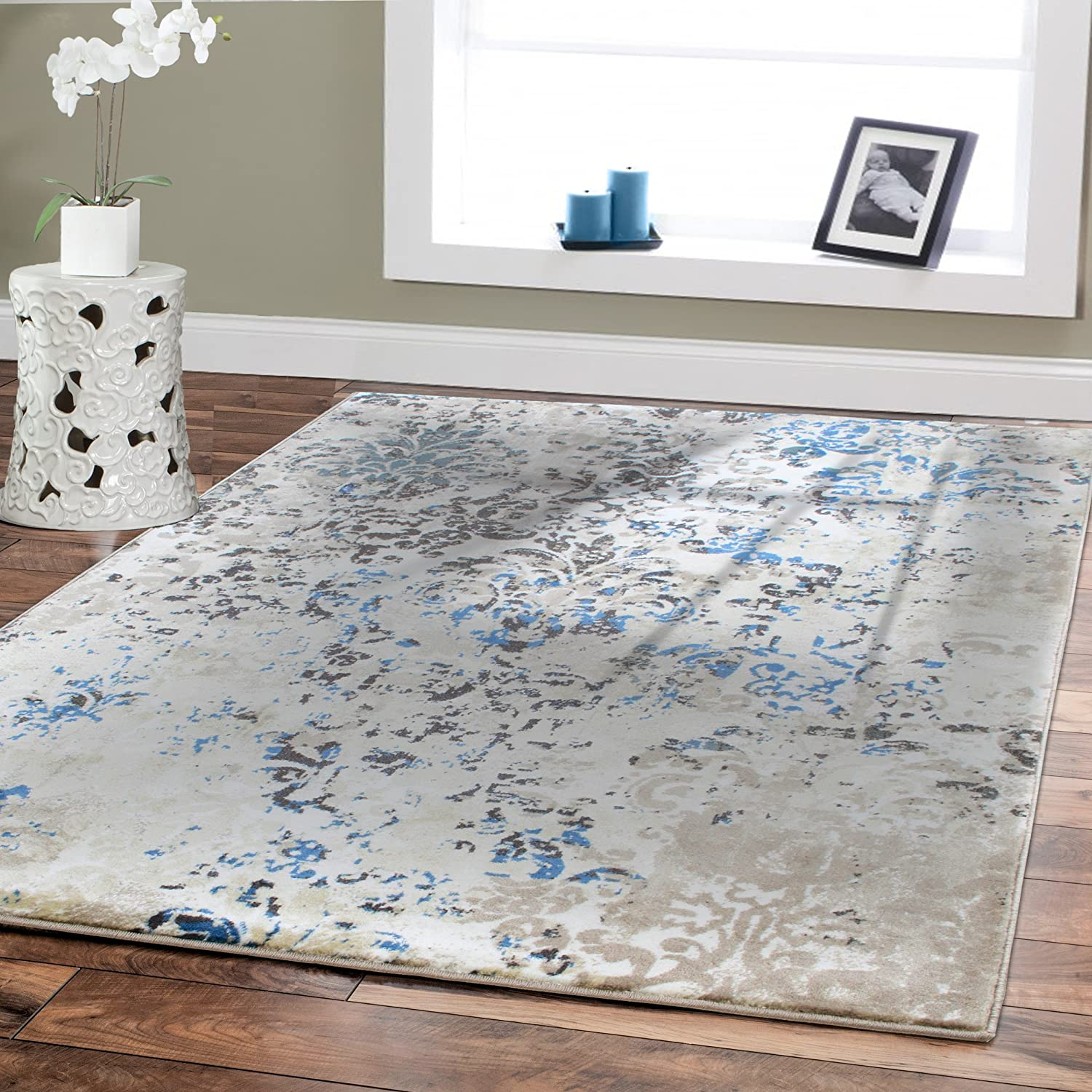 Amazon Premium Soft Contemporary Rug For Living Room Luxury 5x8 Cream Blue Brown Beige Area Rugs Modern 5x7 Bedroom Office Clearance