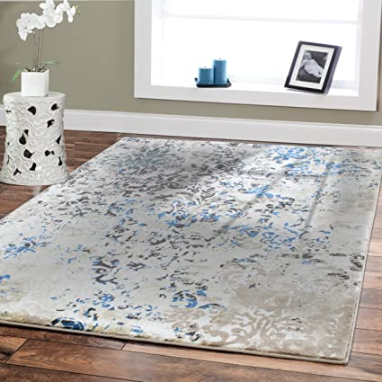 Premium Soft Contemporary Rug For Living Room Luxury 5x8 Cream Blue Brown  Beige Area Rugs Modern