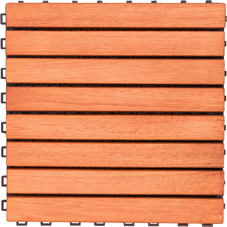 V375 Eucalyptus Hardwood - 8 Straight Slat Design - Interlocking Wood Deck Tile by Vifah
