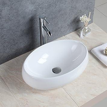 Gaga Oval Bowl Top Keramik-Waschbecken Porzellan Spüle Vessel ... | {Waschbecken küche keramik 52}
