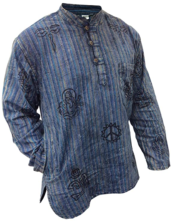 Retro Clothing for Men | Vintage Men's Fashion SHOPOHOLIC FASHION Unisex Stonewashed Striped Light Weight Hippy Grandad Shirt £17.99 AT vintagedancer.com