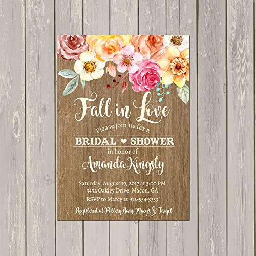 fall bridal shower invitation fall in love rustic autumn bridal shower set of 10
