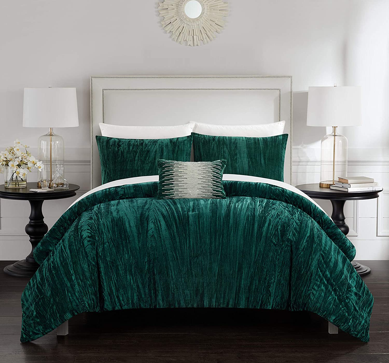 Chic Home Westmont 4 Piece Comforter Set Crinkle Crushed Velvet Bedding - Decorative Pillow Shams Included, King, Green