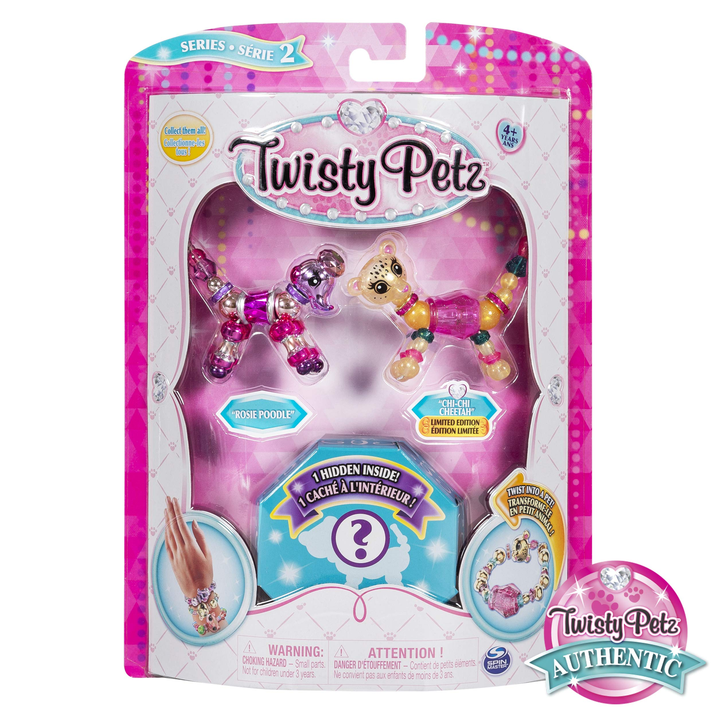 Twisty Petz, Series 2 3 Pack, Rosie Poodle, Chi-Chi Cheetah & Surprise Collectible Bracelet Set For Kids by Twisty Petz