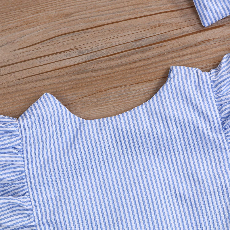 Newborn Infant Baby Girls Romper Striped Bodysuit Flysleeve Halter Jumpsuit Baby Girls Clothes