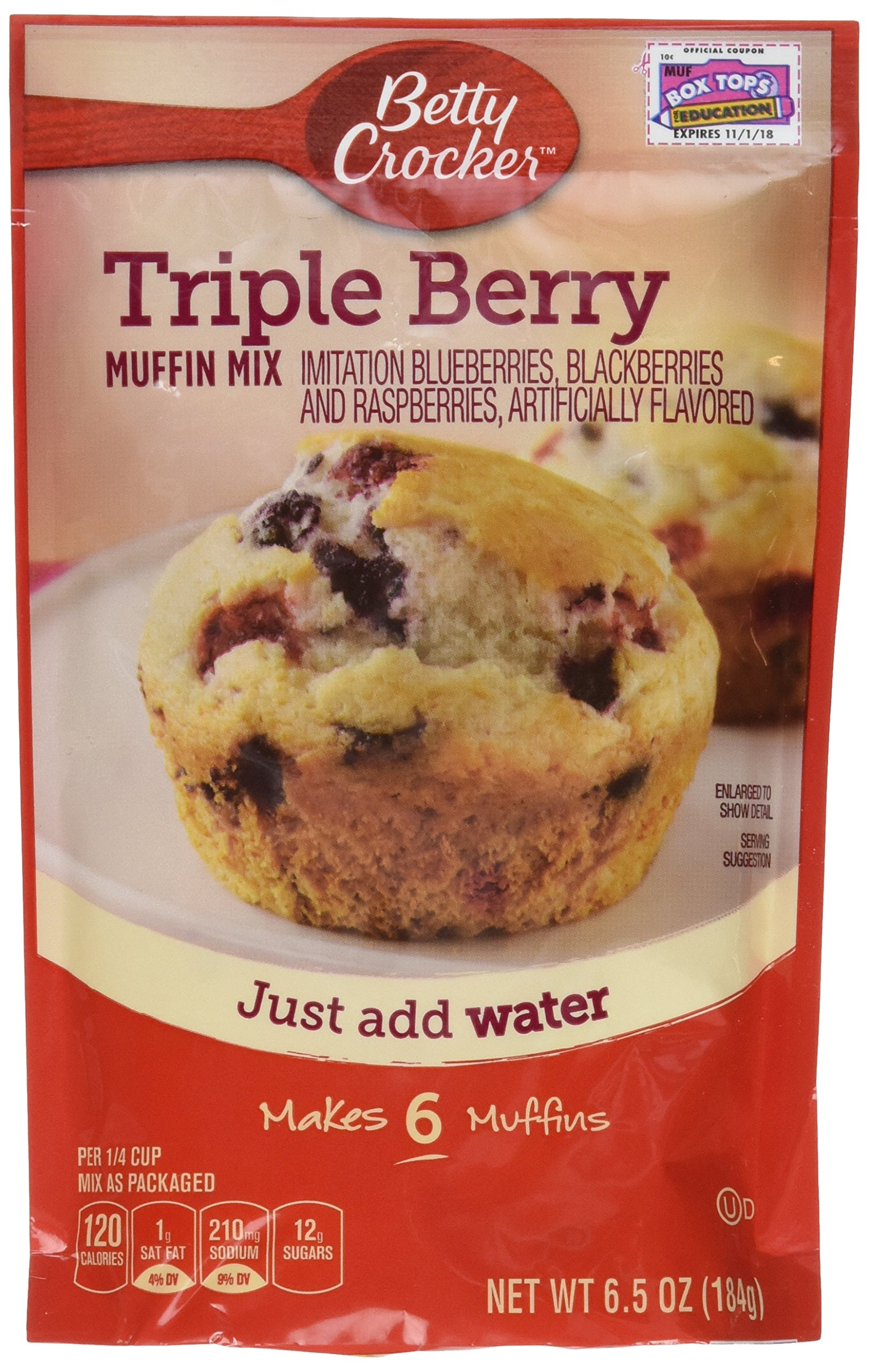 Betty Crocker Muffin Mix 6.5 oz Packet (Pack of 6) (Triple Berry)