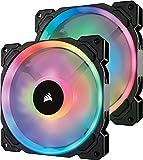 Corsair LL140 RGB Ventilador de PC (140 mm, Doble Halo RGB LED PWM) Paquete Doble con Lighting Node Pro