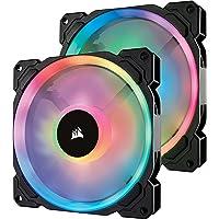 Corsair LL140 RGB, Ventilateur de Boitier Dual Light Loop RGB LED PWM 140mm avec Lighting Node et Hub (Double Pack)