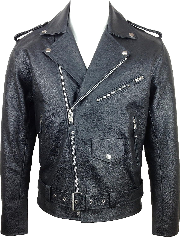 Mens Classic Brando Biker Style Jacket Real Leather Split #A3