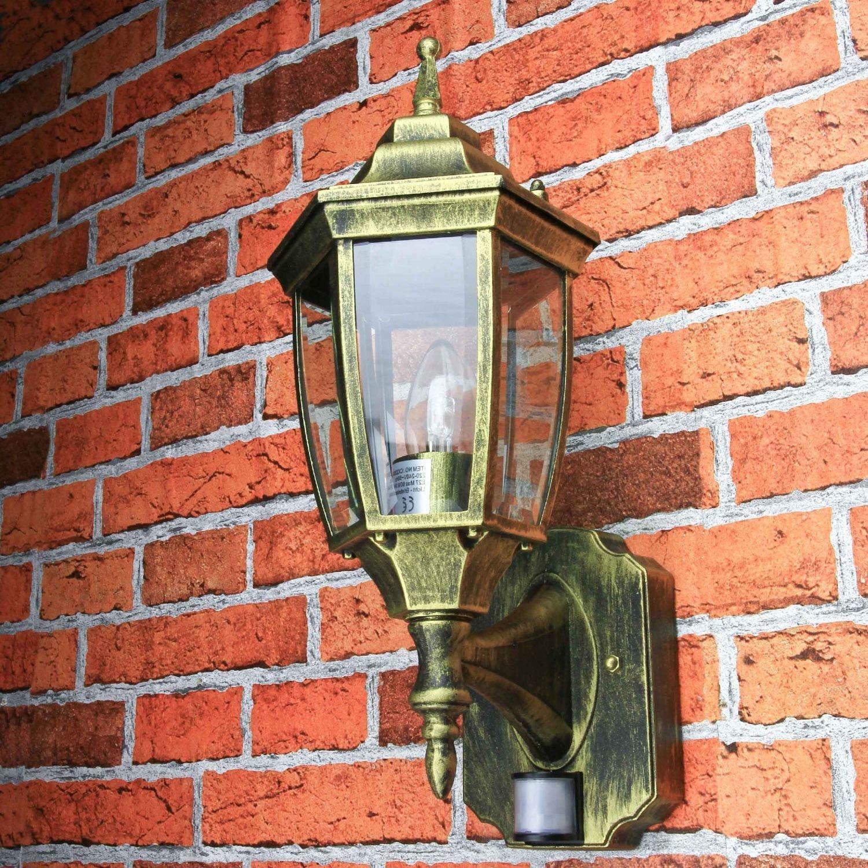 Edle LED Außenwandleuchte 6 Watt in antik mit Bewegungsmelder Wandleuchte