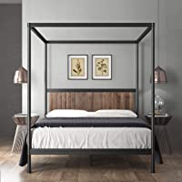 Zinus Wesley Double Bed Frame Canopy Metal and Wood Four Poster Platform Bed | Industrial Modern