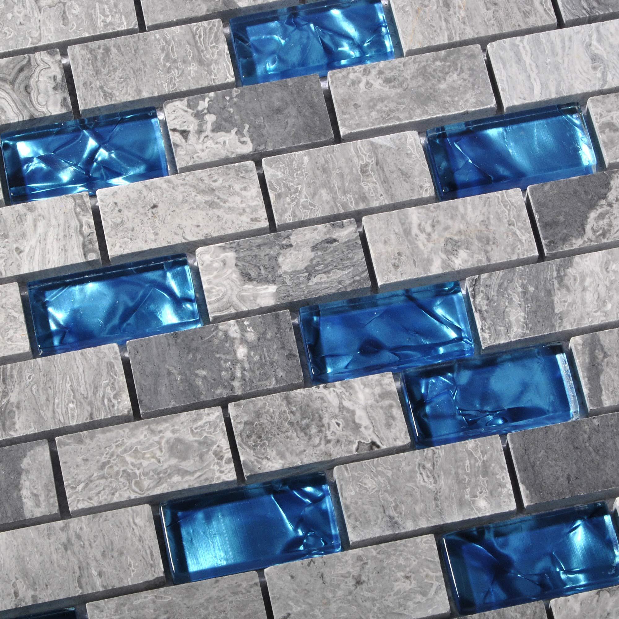 Ocean Teal Blue Glass Nature Stone Tile Kitchen Backsplash 3D Bath Shower Accent Wall Decor Gray Wave Marble 1 x 2 Subway Art Mosaics TSTNB03 (1 Sample 11.8 X 11.8 Inches)