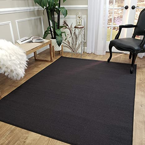 Amazon Com Area Rug 5x7 Solid Black Kitchen Rugs And Mats Rubber