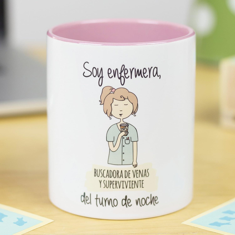 La Mente es Maravillosa - Taza frase y dibujo divertido (Soy enfermera, buscadora de venas y superviviente del turno de noche) Regalo ENFERMERA