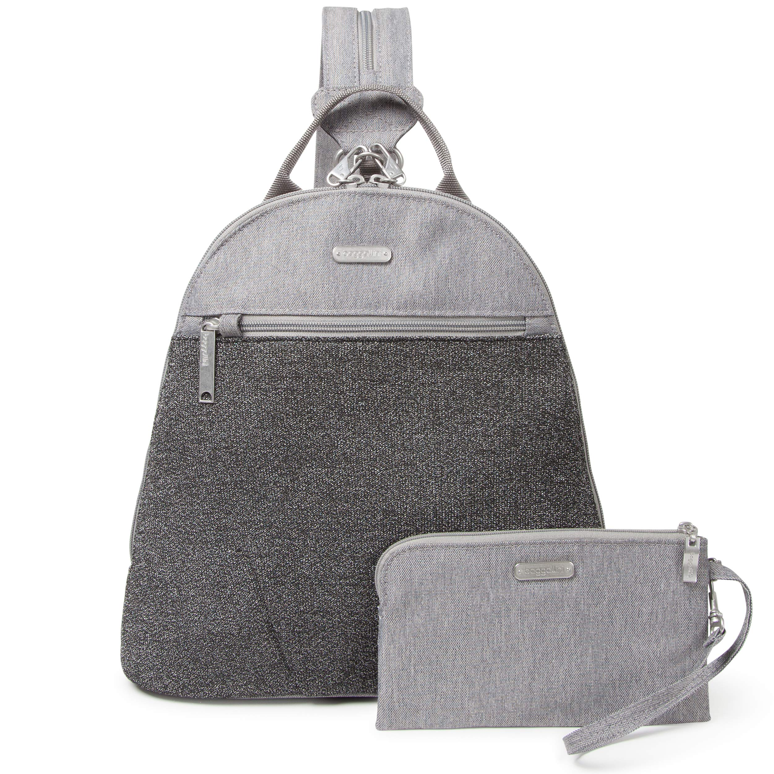 Baggallini Anti-Theft Backpack - Stylish Carry-on Travel Bag With Locking Zippers and RFID-Protected Wristlet, Gray Design