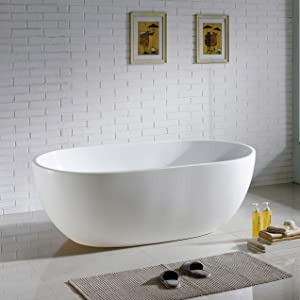 MAYKKE Barnet Modern Oval Acrylic Bathtub Freestanding White Tub
