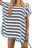 Bess Bridal Women's Cover-Ups Stripes Pompom Trim Chiffon Tunic Bikini Beachwear