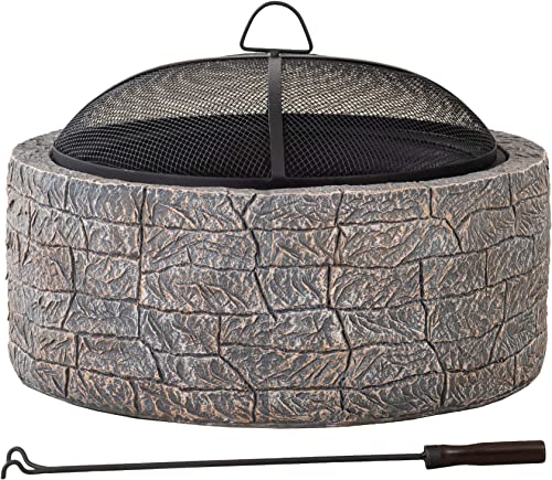 Sunjoy Edwin Stone 26 in. Round Wood Burning Firepit
