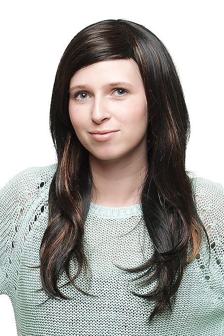 Mujer peluca peluca lado de cresta negro/negro marrón con rotbraunen mechones de largo liso