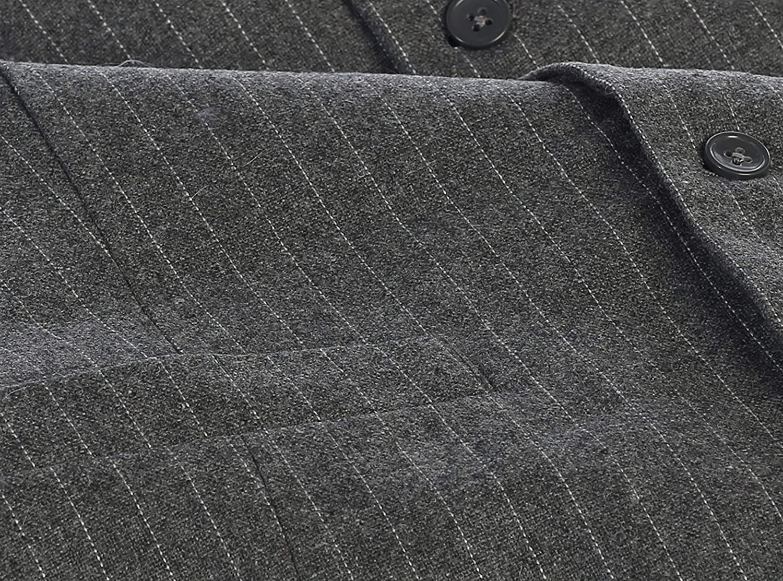 Gioberti Mens 5 Button Formal Wool Blend Tweed Pin Stripe Vest