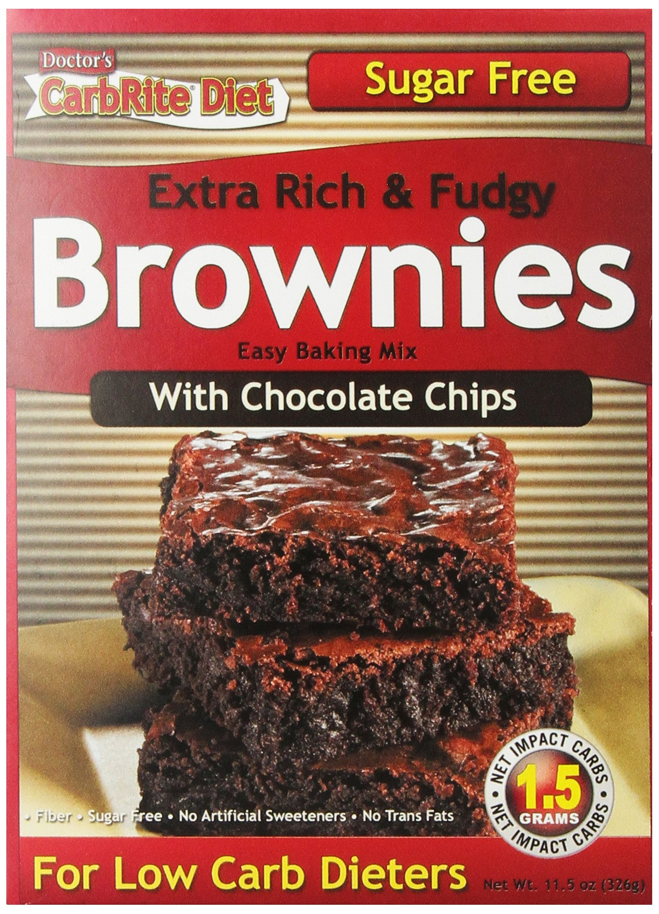 Doctor's CarbRite Diet – Sugar Free Chocolate Chip Brownie Mix, 11.5 oz