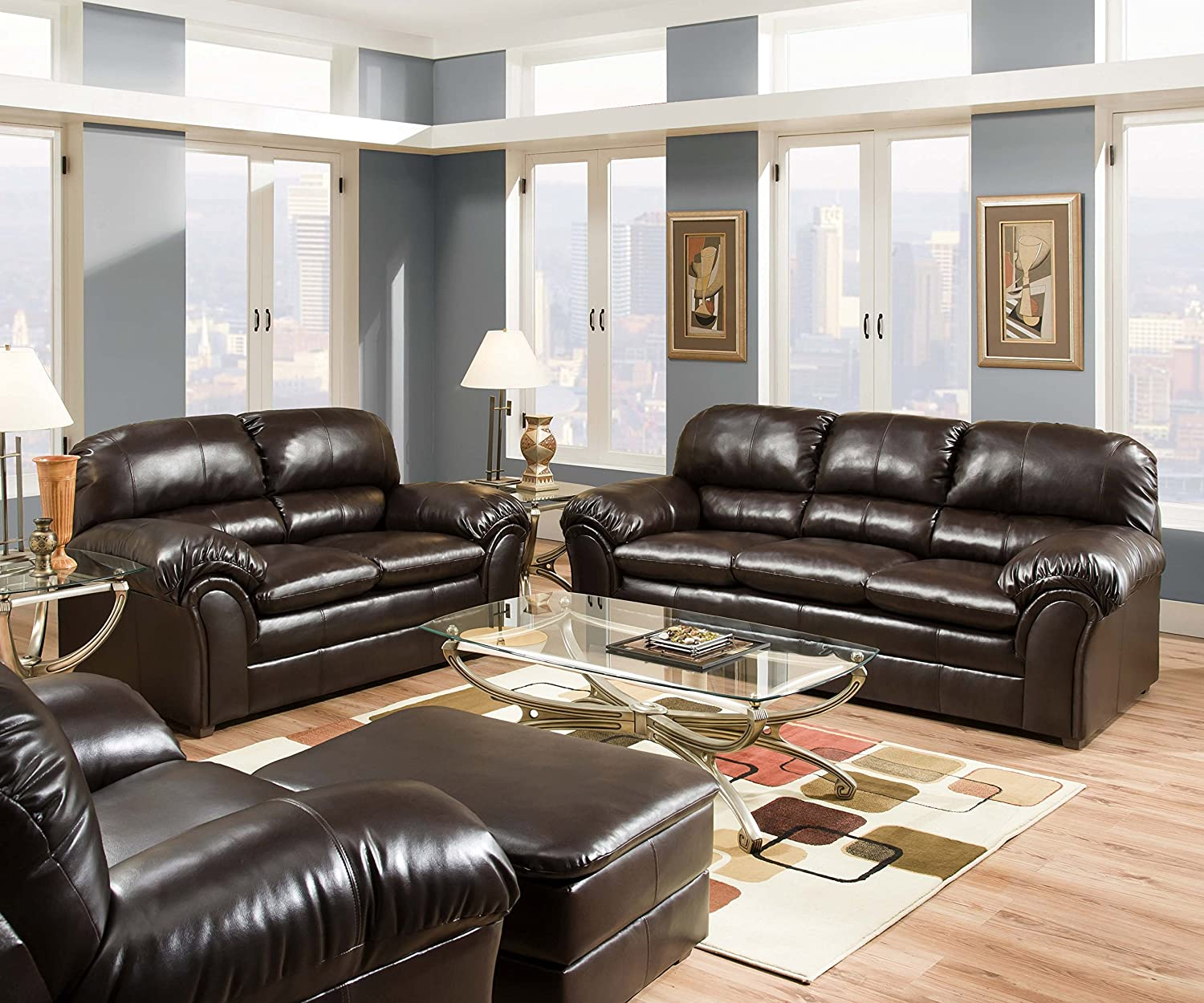 Amazon.com Simmons Upholstery 6159-02 Vintage Riverside Bonded Leather Loveseat Kitchen u0026 Dining & Amazon.com: Simmons Upholstery 6159-02 Vintage Riverside Bonded ... islam-shia.org