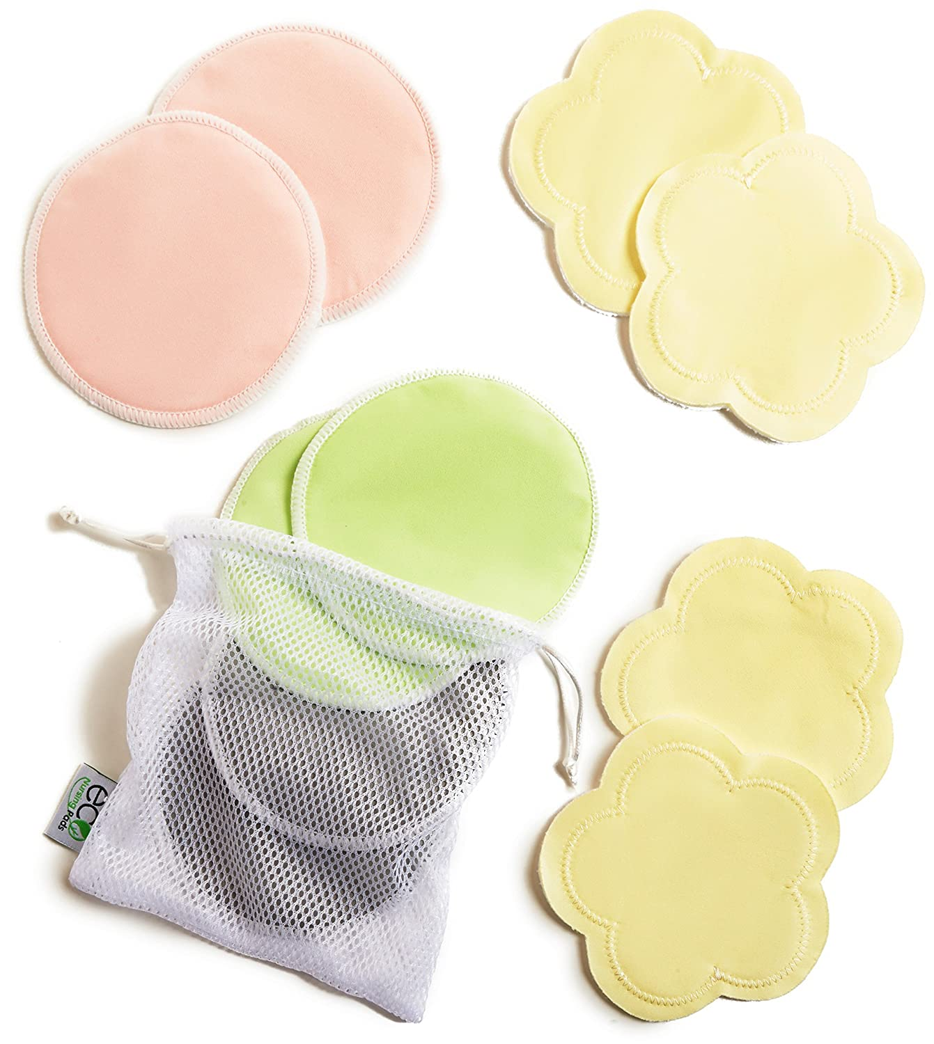 Contoured Washable Reusable Bamboo Nursing Pads Ultra-Soft Velvet Flower Pads 10 Pack with 2 BONUS Pouches /& E-Book Organic Bamboo Breastfeeding Pads Baby Shower Gift