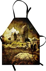 Ambesonne Medieval Apron, Old Scottish Castle Vintage Style European Middle Age Culture Heritage Town Photo, Unisex Kitchen Bib with Adjustable Neck for Cooking Gardening, Adult Size, Green Grey