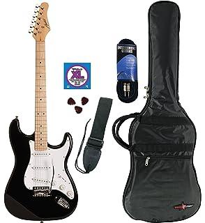 Austin Guitars AST-100BKPKD Electric Guitar Pack, Black