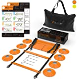 20ft Agility Ladder & Speed Cones Training Set - Exercise Workout Equipment To Boost Fitness & Increase Quick Footwork - Kit