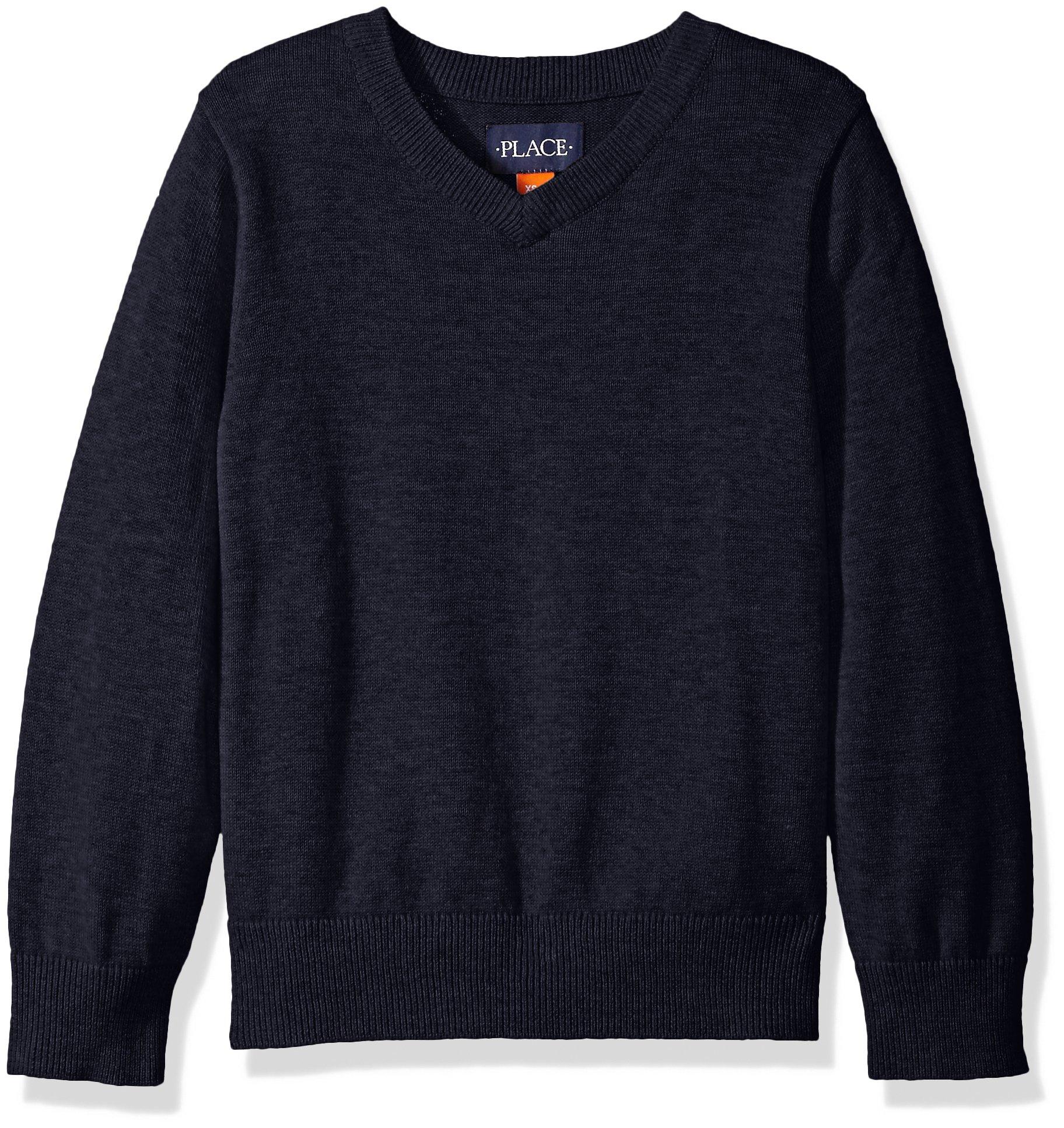 The Children's Place Little Boys' Uniform V-Neck Sweater Vest, Tidal, Small/5/6